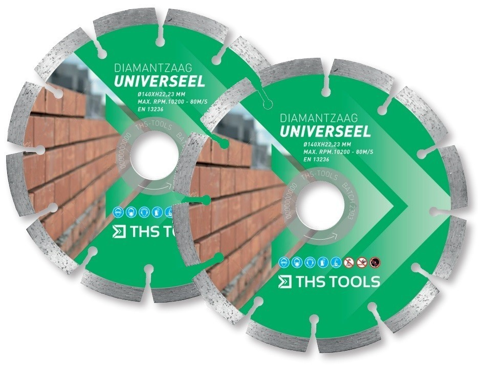 THS Tools Ø 140mm universeel diamantzaagblad set (2 stuks)