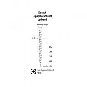 Dutack Fasteners gipsplaatschroef op band - Fijn - PH2 - 3,9 x 35mm (1000st)